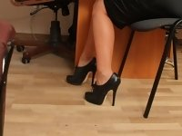 Strict and beautiful lady boss punishing the office manager for poorly done work