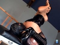 Face Fucked Toy: Leena rides the chin dildo to an orgasm, shocking the bound bitch's balls with an electric shock collar whenever he does not fuck her hard enough.