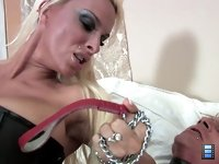 Holly Sex Toy: Mistress Holly takes her fuck toy out of his cage and demands that he service her. She rides his dick to an orgasm, but the slave also cums inside her - without permission!