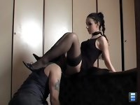 Licking Slave: In between my ecstasies, he will crawl beneath me, kissing my feet, asking for mercy.. Maybe I'll have mercy.. and piss in his mouth..