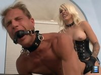 Fucked to Tears: Mistress Stevie starts off by making her new slave gag on her huge strapon, vowing to make him cry.